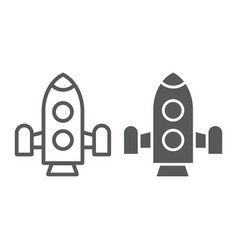 rocket line and glyph icon shuttle and astronomy vector image