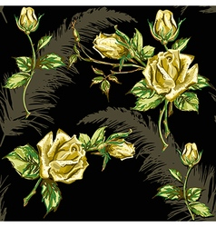 rose pattern on dark vector image