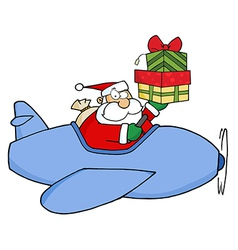 Santa Claus Holding Up A Stack His Christmas Plane vector image