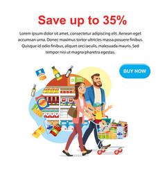 Save money discount in food shop web banner vector
