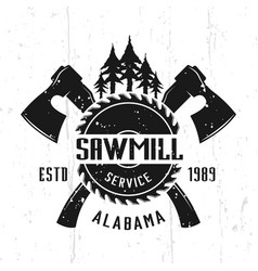 Sawmill service and woodworks emblem vector