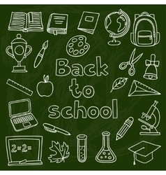 school and education set hand drawn icons on vector image