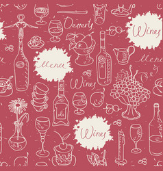 Seamless pattern on the theme of food and drink vector
