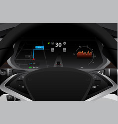 self driving electric car dashboard vector image