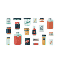 Set cartoon colorful cans glass with vector