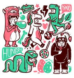 set monster human doodle vector image