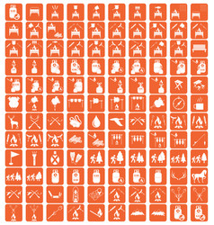 set of camping equipment pictograms vector image