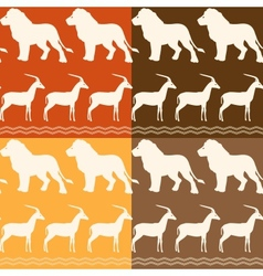 Set of seamless patterns with lion and gazelle vector