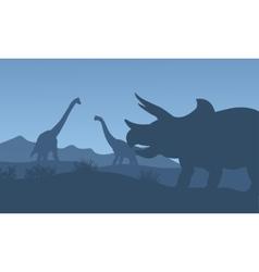 Silhouette triceratops and Brachiosaurus vector image