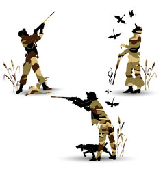silhouettes of game hunters vector image