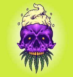 Skull smoke cannabis mascot vector