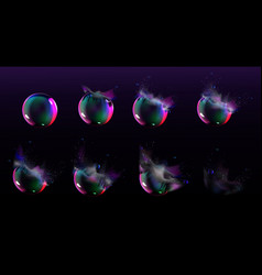 Soap bubble burst sprites for game or animation vector