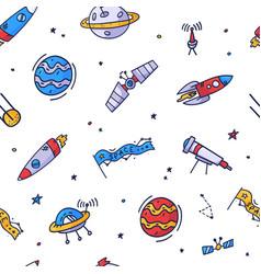Space seamless pattern print design doodle design vector
