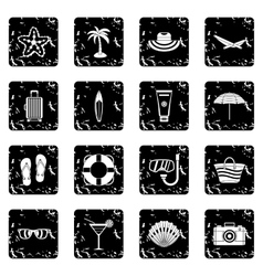 Summer rest icons set vector