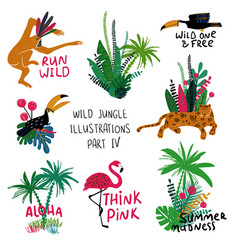 summer set with animals birds and plants vector image