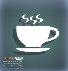 The tea and cup icon On the blue-green abstract vector image