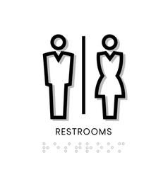Toilet sign restrooms sign door blind people door vector