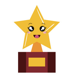 trophy star kawaii character vector image