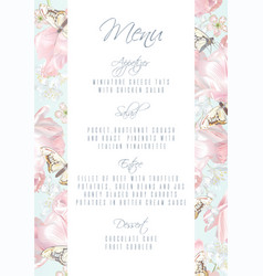tulip butterfly menu vector image