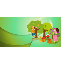 Two girls gathering fruits in orchard flat poster vector