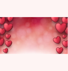 Valentines love background with hearts vector