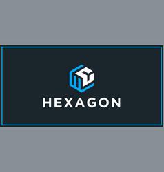 Wc hexagon logo design inspiration vector