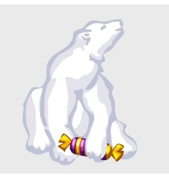 White bear with candy vector image