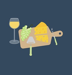Wine cheese and grapes vector image