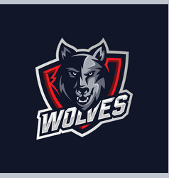 wolf esport gaming mascot logo template vector image