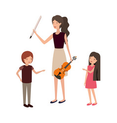 Woman with children and violin character vector