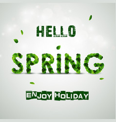 word spring made of fresh green leaves vector image