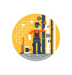 Worker with wrench repairing pipes water dropping vector image