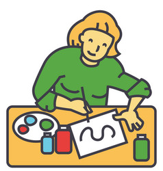 Artist painter woman working vector