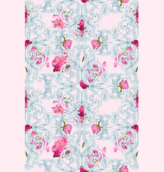 baroque luxury ornament with roses pattern vector image vector image