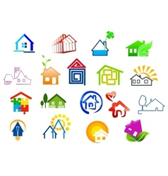 Colorful real estate and house icons vector image