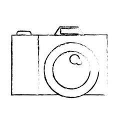 photo camera icon in black blurred contour vector image