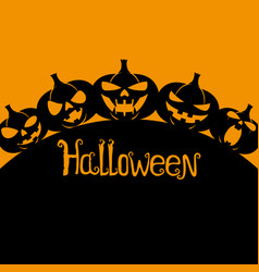 silhouettes of halloween pumpkins vector image vector image