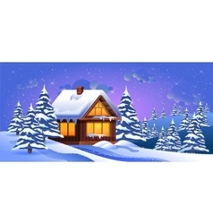 a winter landscape with vector image