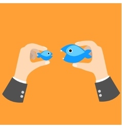 Big fish eat small business concept metaphor vector image