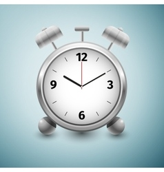 Classic silver alarm clock icon isolated on blue vector