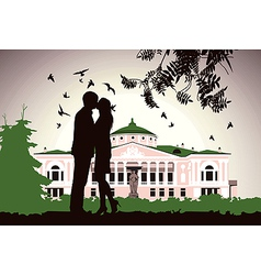 couple kissing near the old house in the middle of vector image vector image