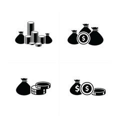 Flat desifn money bag and coins set vector