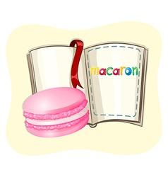 Pink macaron and a book vector