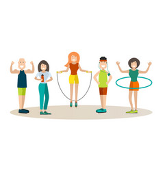 sports training people in flat vector image vector image