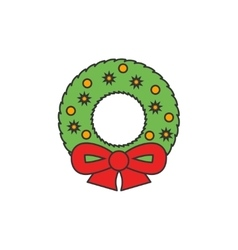 Christmas wreath flat line icon vector image vector image