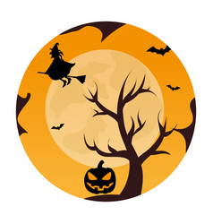 circular landscape of tree and witch in halloween vector image