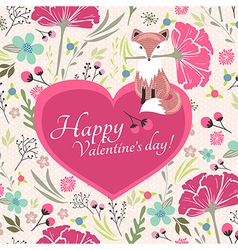 Floral valentines day card with cute little fox vector image vector image