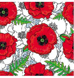hand drawn poppy seamless pattern vector image