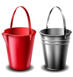 Plastic and metal bucket set vector image vector image