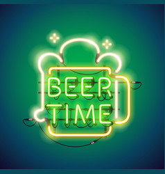 beer time neon sign vector image vector image